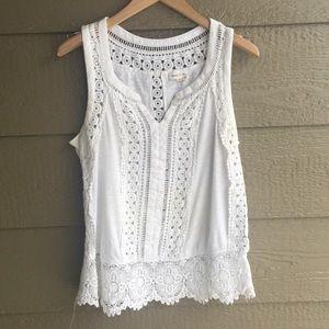 Meadow Rue White Eyelet Lace crochet tank size M